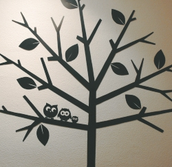 Childrens bedroom decoration idea, prints mounted onto foam board